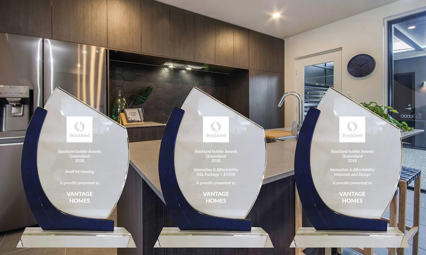 The three Stockland Builder Awards Queensland 2018 won by Vantage Homes
